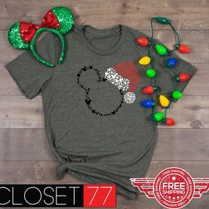 b25ce9129a613 Tops - Mickey Santa Hat disney inspired shirt new